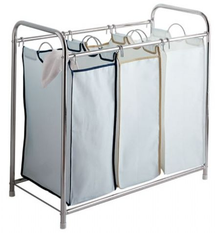 Chrome Laundry Sorter with 3 removable canvas compartment
